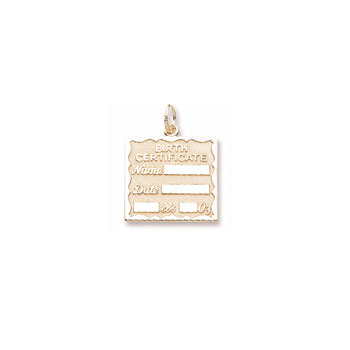 Rembrandt 14K Yellow Gold Birth Certificate Charm – Engravable - Add to a bracelet or necklace