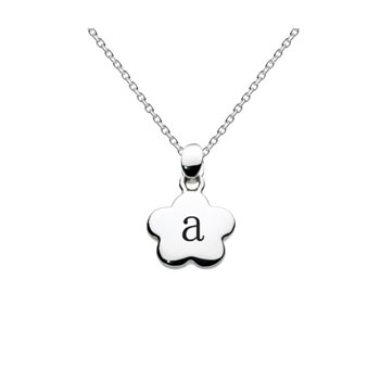 Adorable Tiny Letter A Flower Initial Pendant Necklace for Little Girls - Sterling Silver Rhodium - Engravable on the back - 14-inch chain included