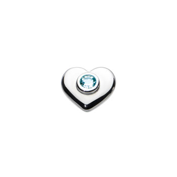 Birthstone Heart Charm Bead - March Birthstone - Genuine Blue Topaz - High-Polished Sterling Silver Rhodium - Add to a bracelet or necklace