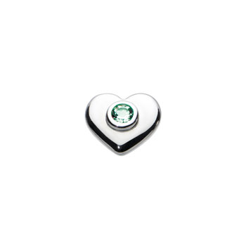 Birthstone Heart Charm Bead - May Birthstone - Genuine Green Quartz - High-Polished Sterling Silver Rhodium - Add to a bracelet or necklace