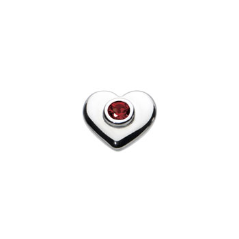 Birthstone Heart Charm Bead - July Birthstone - Synthetic Ruby - High-Polished Sterling Silver Rhodium - Add to a bracelet or necklace