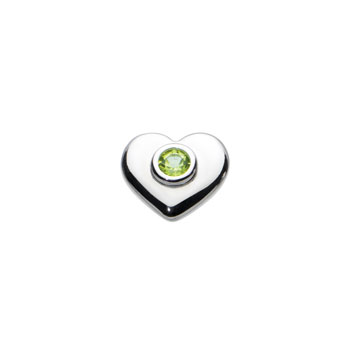 Birthstone Heart Charm Bead - August Birthstone - Genuine Peridot - High-Polished Sterling Silver Rhodium - Add to a bracelet or necklace