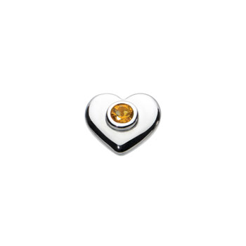 Birthstone Heart Charm Bead - November Birthstone - Genuine Citrine - High-Polished Sterling Silver Rhodium - Add to a bracelet or necklace