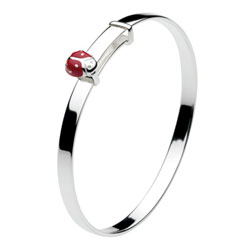 Red Ladybug Sterling Silver Rhodium Bangle Bracelet for Girls - Size 5.25