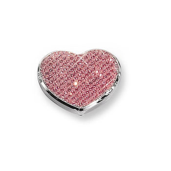 Ella - Pink Glitter Heart Silver-Plated Keepsake Backpack or Purse Mirror Just for Her - Engravable on back - BEST SELLER
