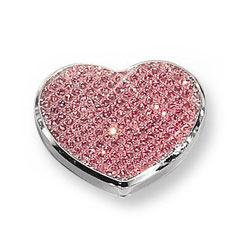 Ella - Pink Glitter Heart Silver-Plated Keepsake Backpack or Purse Mirror Just for Her - Engravable on back - BEST SELLER/