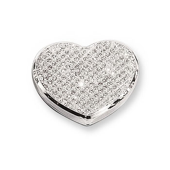 Lily - White Glitter Heart Silver-Plated Keepsake Backpack or Purse Mirror Just for Her - Engravable on back - BEST SELLER