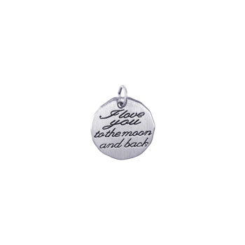 Rembrandt Sterling Silver I Love You to the Moon and Back Charm – Engravable on back - Add to a bracelet or necklace - BEST SELLER