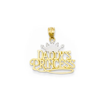 Daddy's Princess Pendant - 14K Yellow Gold and Rhodium - Chain Included