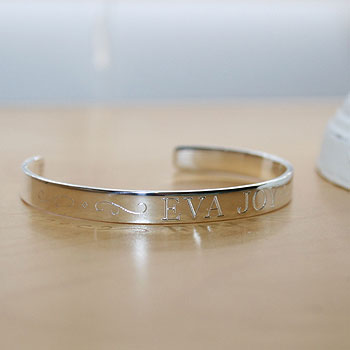 "Eva Joy - Sterling Silver Engravable Girls Cuff Bracelet - Size 5"" Adjustable to 6"" (Toddler - 10 years) - BEST SELLER"