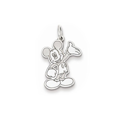 Disney Mickey Mouse Charm / Pendant (Small) – 14K White Gold - Engravable on back - Add to a bracelet or necklace/