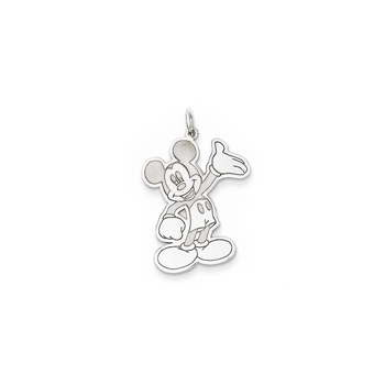 Disney Mickey Mouse Charm / Pendant (Large) – Sterling Silver Rhodium - Engravable on back - Add to a bracelet or necklace - BEST SELLER