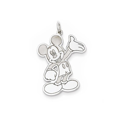 Disney Mickey Mouse Charm / Pendant (Large) – Sterling Silver Rhodium - Engravable on back - Add to a bracelet or necklace - BEST SELLER/