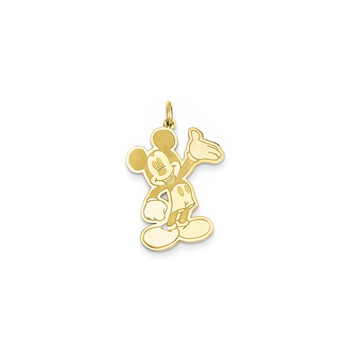 Disney Mickey Mouse Charm / Pendant (Large) – 14K Yellow Gold - Engravable on back - Add to a bracelet or necklace