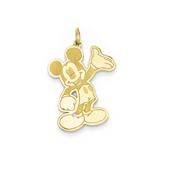 Disney Mickey Mouse Charm / Pendant (Large) – 14K Yellow Gold - Engravable on back - Add to a bracelet or necklace/