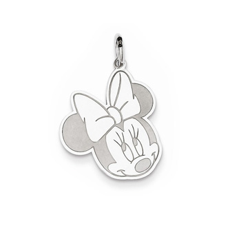 Disney Minnie Mouse Charm / Pendant (Large) – Sterling Silver Rhodium - Engravable on back - Add to a bracelet or necklace