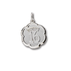 Rembrandt Sterling Silver Sweet 16 Charm – Engravable on back - Add to a bracelet or necklace/