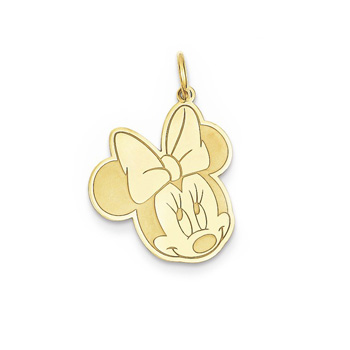 Disney Minnie Mouse Charm / Pendant (Large) – 14K Yellow Gold - Engravable on back - Add to a bracelet or necklace