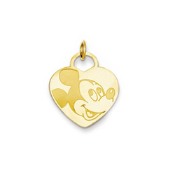 Disney Mickey Mouse Charm / Pendant (Medium) – 14K Yellow Gold - Engravable on back - Add to a bracelet or necklace/