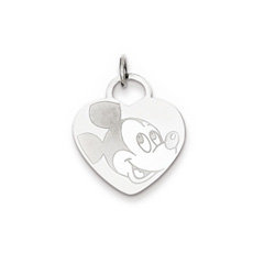 Disney Mickey Mouse Charm / Pendant (Medium) – 14K White Gold - Engravable on back - Add to a bracelet or necklace/