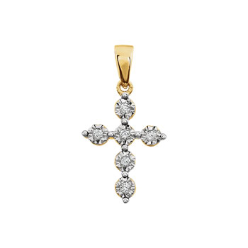 Exquisite Keepsake Diamond Cross Necklace for Girls - Perfect Christening, First Communion, or Confirmation Gift - 14K Yellow and White Gold - 0.06 TCW Diamond Pendant - Chain Included - BEST SELLER