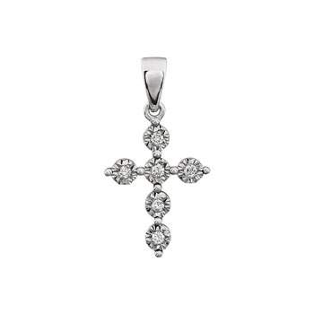 Exquisite Keepsake Diamond Cross Pendant Girls Necklace - Perfect Christening, First Communion, or Confirmation Gift - 14K White Gold - 0.06 TCW Diamond Pendant Necklace - Chain Included - BEST SELLER