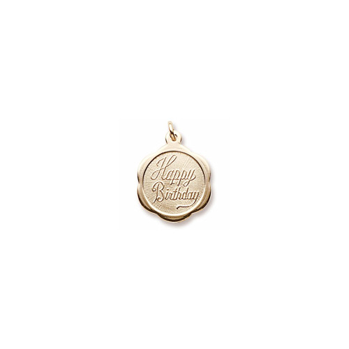 Happy Birthday - Small Ornate Round 14K Yellow Gold Rembrandt Charm – Engravable on back - Add to a bracelet or necklace