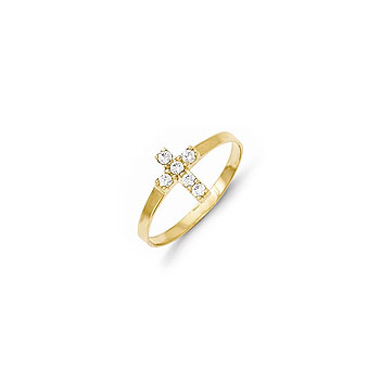Absolutely Adorable Tiny Cross Ring for Girls - CZ Cross  - 14K Yellow Gold - Size 3 - BEST SELLER