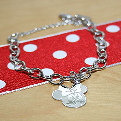 My First Charm Bracelet® for Girls with Safety Chain – Cable Chain Charm Bracelet for Kids - Sterling Silver Rhodium - Size 6  (Kids 5 - 8 yrs) - Engravable Minnie Mouse charm included - BEST SELLER/