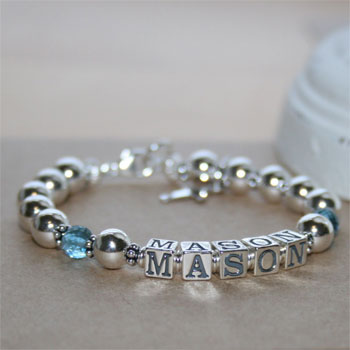 Mason - Boy's sterling silver name bracelet - Grow-With-Me® designer bracelet - Personalize with birthstones & charms