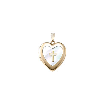 "Fine Heirloom First Communion Mother of Pearl 20mm Heart Photo Locket for Girls - 14K Yellow Gold - Engravable on back - 18"" chain included - BEST SELLER"