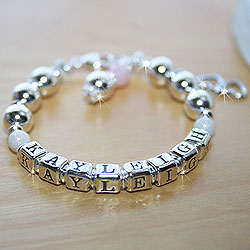 Kayleigh Ann™ – Grow-With-Me® designer bracelet – Sterling silver name bracelet – Personalize with birthstones & charms/
