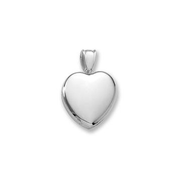 "Handmade Premium Heirloom Lockets to Love - 14K White Gold 20mm Heart Photo Locket - Engravable on front and back - Includes a 18"" wheat chain"