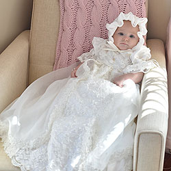 Charlotte Avery - Handmade Heirloom Dupioni Silk Pearl Sequin Christening Gown with Matching Christening Bonnet Set - Size XS (3 - 6 months) - BEST SELLING Baptism Dress/