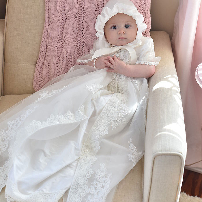 Olivia Harper - Handmade Heirloom Dupioni Silk Pearl and Sequin Christening Gown with Matching Christening Bonnet Set - Size XS (3 - 6 months)