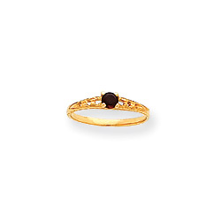 January Birthstone - Genuine Garnet 3mm Gemstone - 14K Yellow Gold Baby/Toddler Birthstone Ring - Size 3/