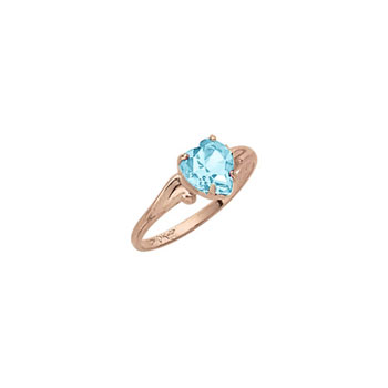 Little Girl's Heart Birthstone Ring - March Birthstone - Synthetic Aquamarine - 10K Yellow Gold - Size 4½ Child Ring - BEST SELLER