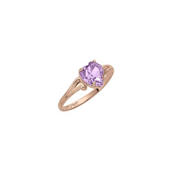 Little Girl's Heart Birthstone Ring - June Birthstone - Synthetic Rhodolite - 10K Yellow Gold - Size 4½ Child Ring - BEST SELLER/