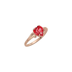 Little Girl's Heart Birthstone Ring - July Birthstone - Synthetic Ruby - 10K Yellow Gold - Size 4½ Child Ring - BEST SELLER/
