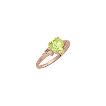 Little Girl's Heart Birthstone Ring - August Birthstone - Synthetic Peridot - 10K Yellow Gold - Size 4½ Child Ring - BEST SELLER