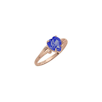 Little Girl's Heart Birthstone Ring - September Birthstone - Synthetic Blue Sapphire - 10K Yellow Gold - Size 4½ Child Ring - BEST SELLER