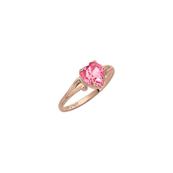 Little Girl's Heart Birthstone Ring - October Birthstone - Synthetic Pink Tourmaline - 10K Yellow Gold - Size 4½ Child Ring - BEST SELLER