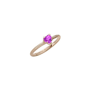 Beautiful Girl's Heart Birthstone Ring - February Birthstone - Synthetic Amethyst - 10K Yellow Gold - Size 3½ Child Ring - BEST SELLER