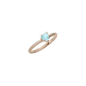 Beautiful Girl's Heart Birthstone Ring - March Birthstone - Synthetic Aquamarine - 10K Yellow Gold - Size 3½ Child Ring - BEST SELLER