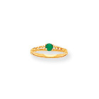 May Birthstone - Genuine Emerald 3mm Gemstone - 14K Yellow Gold Baby/Toddler Birthstone Ring - Size 3
