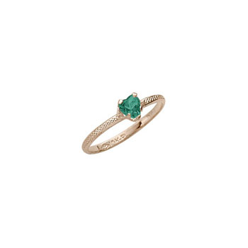 Beautiful Girl's Heart Birthstone Ring - May Birthstone - Synthetic Emerald - 10K Yellow Gold - Size 3½ Child Ring - BEST SELLER
