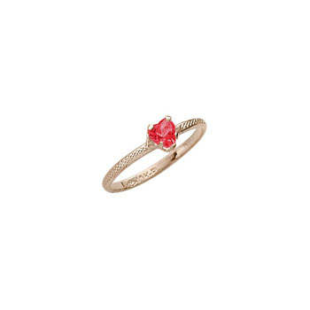 Beautiful Girl's Heart Birthstone Ring - July Birthstone - Synthetic Ruby - 10K Yellow Gold - Size 3½ Child Ring - BEST SELLER