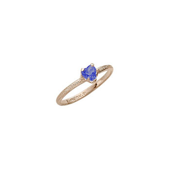 Beautiful Girl's Heart Birthstone Ring - September Birthstone - Synthetic Blue Sapphire - 10K Yellow Gold - Size 3½ Child Ring - BEST SELLER