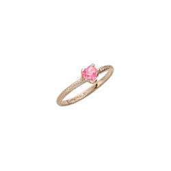 Beautiful Girl's Heart Birthstone Ring - October Birthstone - Synthetic Pink Tourmaline - 10K Yellow Gold - Size 3½ Child Ring - BEST SELLER /