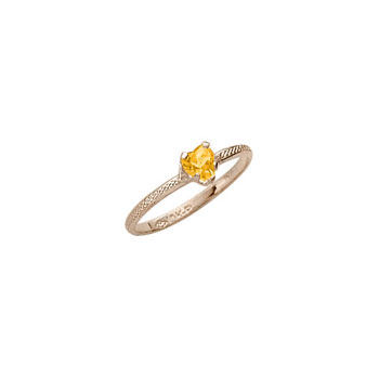Beautiful Girl's Heart Birthstone Ring - November Birthstone - Synthetic Citrine - 10K Yellow Gold - Size 3½ Child Ring - BEST SELLER